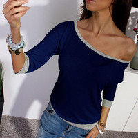 2016 New Spring Sexy Women Long Sleeve Loose Casual Off Shoulder Tees T shirt Tops Multicolor Womens Plus Size T-shirt