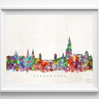 Strasbourg Skyline Print, France Print, Strasbourg Poster, Watercolor Art, Wall Art, Cityscape, Home Decor, Giclee Art, Christmas Gift