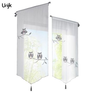 Urijk 1PC Kitchen Short Curtains Owl Pattern Roman Blinds Curtains For The Kitchen White Sheer Tassel Tulle Curtains Window