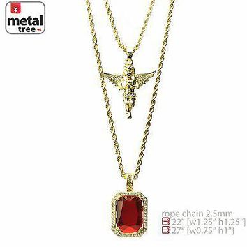 "Jewelry Kay style 14K Gold Plated Angel & Red Ruby 22""&27"" Combo Pendant Chain Necklace MHC 213 G"