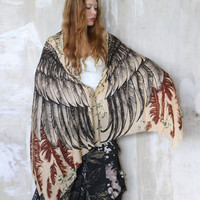 SILK Earthy Toned Wings scarf and feathers, Hand painted, printed, stunning unique and useful, perfect gift