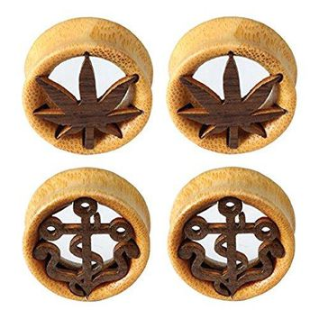 BodyJ4You Plugs Kit Ear Gauges Stretching Natural Wood Pot Leaf Anchor 12mm Piercing Jewelry Set 4 Pieces
