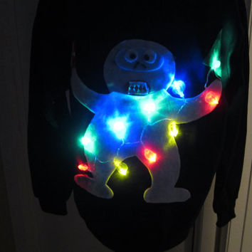 Light Up Abominable Snowman Ugly Christmas Sweater Small Medium Large Xlarge Ships in 48 hours Priority Mail with Tracking !