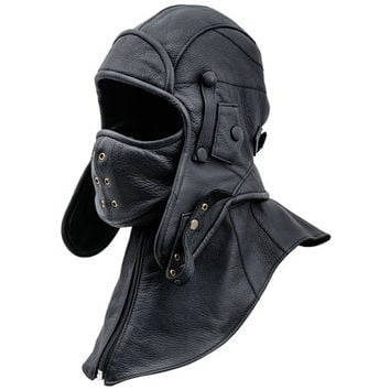 Genuine leather aviator trapper cap with detachable collar and mask.