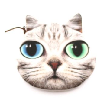 Tabby Cat Face With Blue and Green Eyes Shaped Coin Purse Make Up Bag