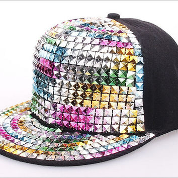 Fashion Multicolor Diamond Hip-Hop Hat