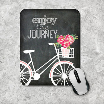Quote Mousepad, Chalkboard Mouse Pad, Watercolor Mouse Mat, Custom Mousepad, Bicycle Mousepad, Floral Mousepad, Inspirational Quote Mousepad