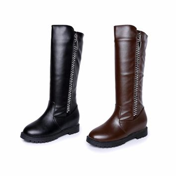 Free Shipping Luxury Women Mid-Calf Boots With Waterproof Design Female Leather Boots For Girl Teenager Women Fashion Shoes Hot
