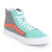 Vans Girls Sk8 Hi Slim Geo Cockatoo & Hot Coral Skate Shoe