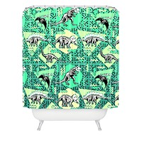 Chobopop Nineties Dinosaur Skeleton Pattern Shower Curtain