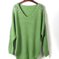 Green Beaded Lace Sweater$43.00