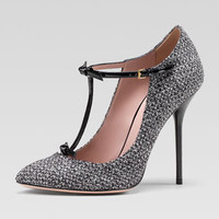 Tweed T-Strap Pump, Graystone