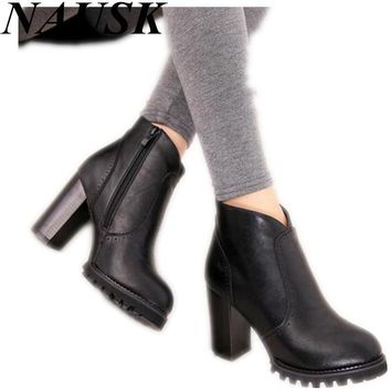 2015 Autumn Winter Ankle Boots New Fashion Cut-Outs Platform Women Boots Sexy High Hee