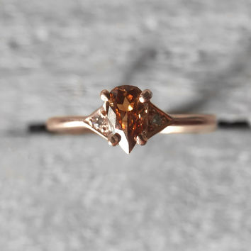 Ready to ship - Fenly - Cognac Orange Brown rose cut diamond and light diamonds - 14k rose gold