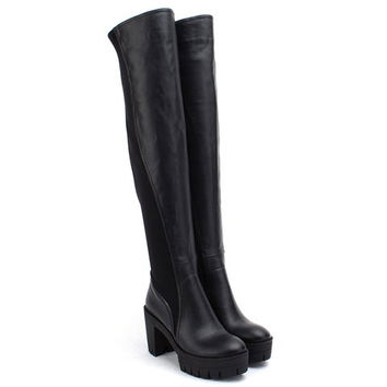 Black Chunky Heel Over-The-Knee Boots