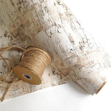 25' birch wrapping paper, holiday gift wrap, birch bark Christmas, birch gift wrap, birch tree paper, birch bark wrapping paper, birch decor