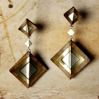 Walnut Wooden Earrings With Bronze and Silver Squares, Pattern Color Variations, Silver Earrings Wooden Earrings