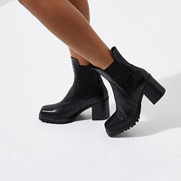 Black leather cleated block heel ankle boots - Boots - Shoes & Boots - women