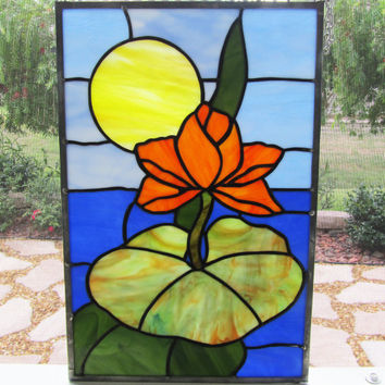 Water Lily Stained Glass Panel  ~ Tiffany Stained Glass ~ Home Decor