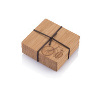 Bamboo Coasters with Motif (set of 4)