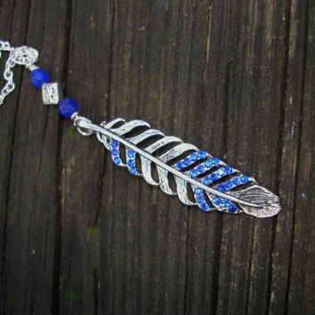 Feather necklace, blue necklace, sapphire necklace, cobalt, royal blue, boho, angel feather, birthday