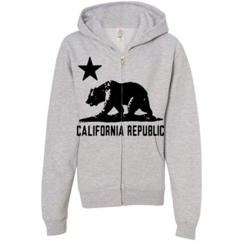 California Flag Oversize Black Silhouette Premium Youth Zip-Up Hoodie