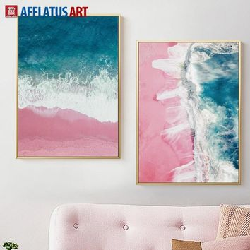 Blue Sea Wave Pink Beach Landscape Nordic Posters And Prints Wall Art Canvas Painting Wall Pictures For Living Room Home Decor