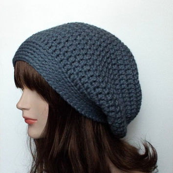 Blue Gray Slouch Beanie - Womens Slouchy Crochet Hat - Oversized Cap - Chunky Hat
