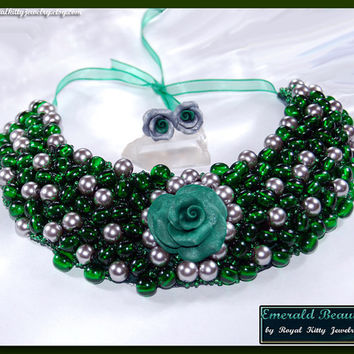 Emerald Beauty, handmade necklace, statement necklace, statement handmade necklace, green statement necklace, emerald statement necklace