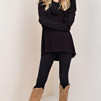 Black Cowl Neck Knit Top