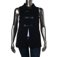 Style & Co. Womens Petites Knit Buckle Solid Casual Vest
