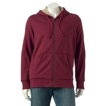 Sonoma Life + Style Solid Sherpa Full Zip Hoodie Men