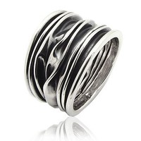 Wrinkled Unique Crushed Can Wide Armor Band Sterling Silver Ring(Sizes 4,5,6,7,8,9,10)