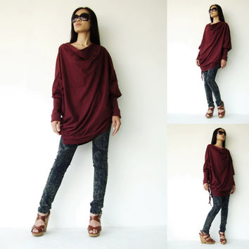 NO.59 Deep Red Cotton Jersey Batwing Tunic Loose Asymmetrical Sweater