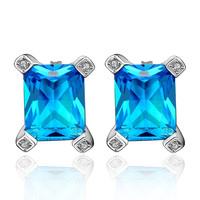 Favorite Blue Square Zirconia White Gold Plated Earring