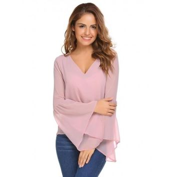 Pink Solid Loose V-neck Long Bell Sleeves Chiffon Blouse