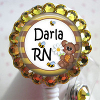 RN ID Badge Holder, Nurse Badge Reels, ID Badge Holders, Retractable Badge Holders Cute Bear With or Without Crystals