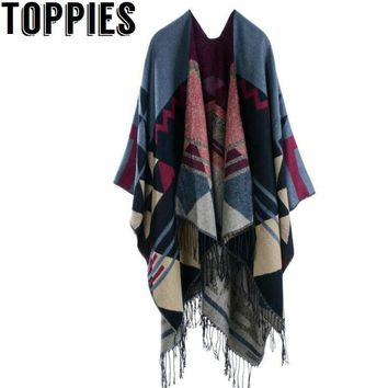 2018 Women Vintage Pattern Tassel Poncho Shawl Cape Cardigan Winter Autumn Retro Capes for Women