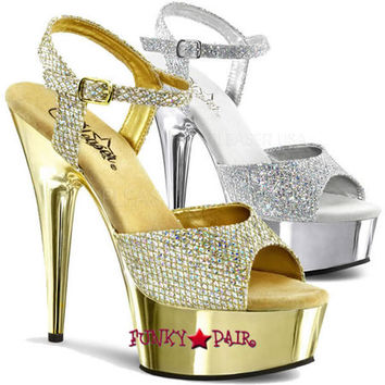 Delight-609G * Glitter Ankle Strap with Chrome Platform