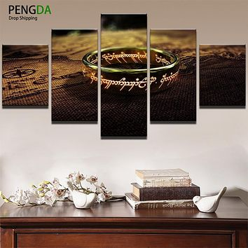 Canvas Wall Art Posters HD Prints Painting Frame For Living Room Home Decor 5 Panel World Map Lord Of The Rings Pictures PENGDA