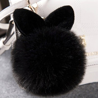 Fluffy Black Pompon Cat Ears Keychain