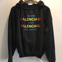 Balenciaga Fashion Color Logo Hoodie