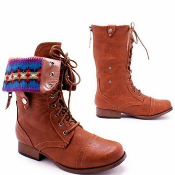 fair isle cuffed combat boot $29.10 in BLACK NATURAL WHISKY - New Shoes | GoJane.com