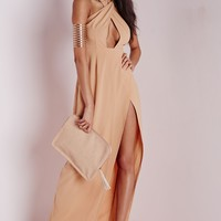 Missguided - Wrap Maxi Dress Camel