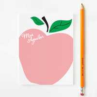 Personalized Stationery for kids // Teacher Stationery // Apple Stationery // Teacher Stationary // Choose your colors