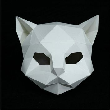 DIY Paper Mask Animal Cat Head Creative Party Pulp Costume White Funny