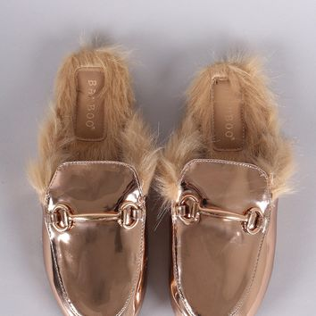 Bamboo Patent Horsebit Ornament Fur Lined Slide-On Mules