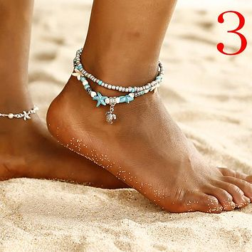 Bohemian Multiple Layers Starfish Turtle Beads Anklets For Women Vintage Boho Shell Chain Anklet Bracelet Beach Jewelry