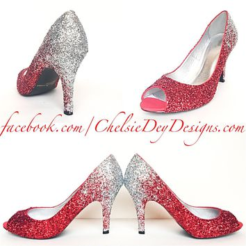 Glitter Peep Toe Pumps, Red Silver Ombre Shoes, Wedding Open Toe High Heels