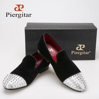 PIERGITAR Handmade velvet shoes with Rivet Leather loafers-FREE SHIPPING!!